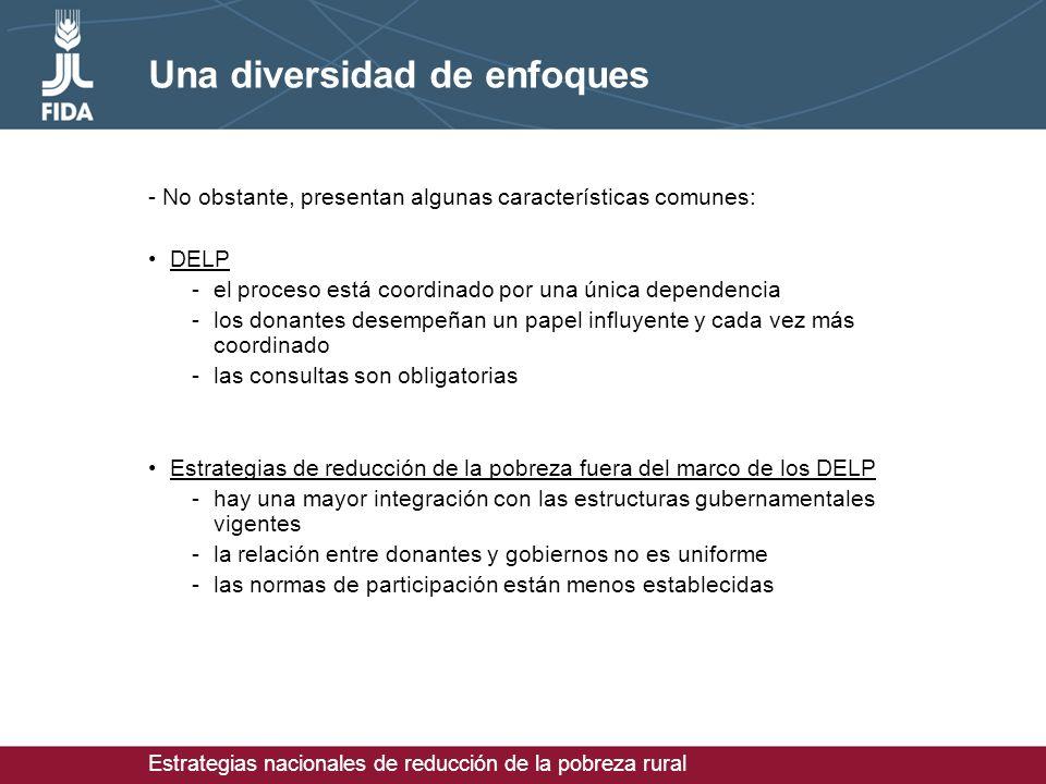 Estrategias nacionales de reducción de la pobreza rural Una diversidad de enfoques - No obstante, presentan algunas características comunes: DELP -el proceso está coordinado por una única dependencia -los donantes desempeñan un papel influyente y cada vez más coordinado -las consultas son obligatorias Estrategias de reducción de la pobreza fuera del marco de los DELP -hay una mayor integración con las estructuras gubernamentales vigentes -la relación entre donantes y gobiernos no es uniforme -las normas de participación están menos establecidas
