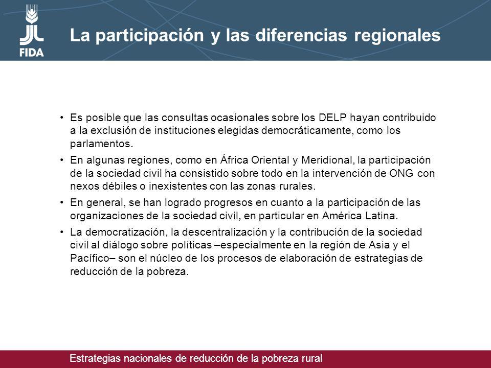 Estrategias nacionales de reducción de la pobreza rural La participación y las diferencias regionales Es posible que las consultas ocasionales sobre los DELP hayan contribuido a la exclusión de instituciones elegidas democráticamente, como los parlamentos.
