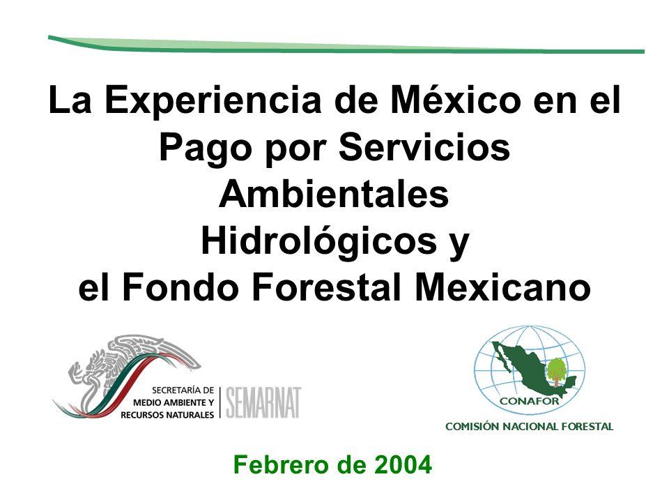 La Experiencia de México en el Pago por Servicios Ambientales Hidrológicos y el Fondo Forestal Mexicano Febrero de 2004
