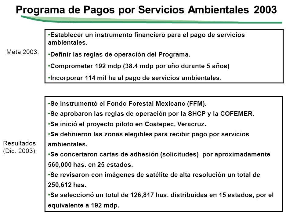 Programa de Pagos por Servicios Ambientales 2003 Meta 2003: Resultados (Dic. 2003): Establecer un instrumento financiero para el pago de servicios amb