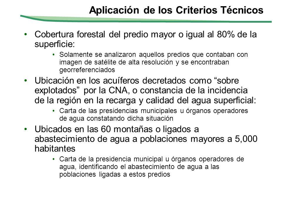 Aplicación de los Criterios Técnicos Cobertura forestal del predio mayor o igual al 80% de la superficie: Solamente se analizaron aquellos predios que