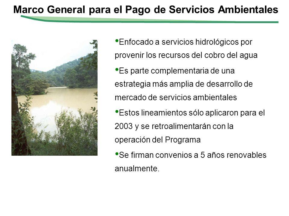 Monto total a comprometer: $200 millones de pesos (aproximadamente 20 mdd) Pagar aproximadamente a 126.8 mil hectáreas con $350 por ha (promedio) durante 5 años; Pago de Servicios Ambientales Hidrológicos 2003 Se paga por resultados.
