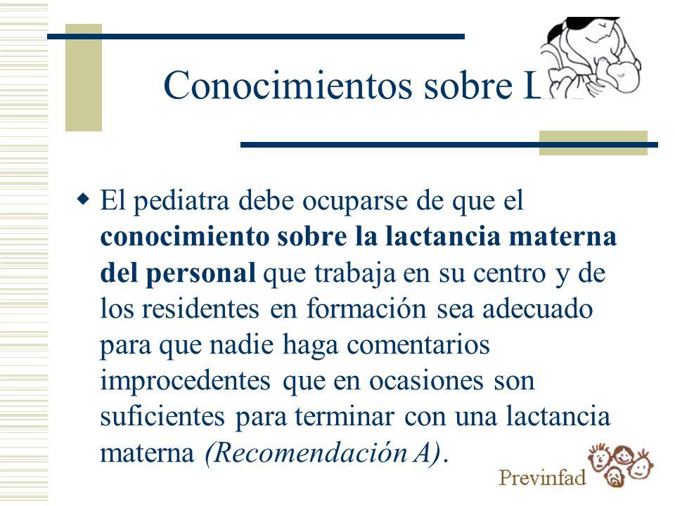 Conocimientos sobre LM El pediatra debe ocuparse de que el conocimiento sobre la lactancia materna del personal que trabaja en su centro y de los resi