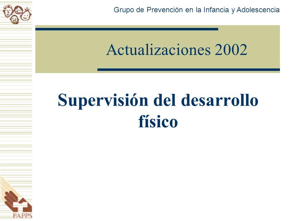 Actualizaciones 2002 Supervisión del desarrollo físico Grupo de Prevención en la Infancia y Adolescencia