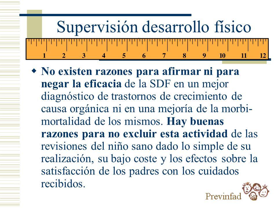 Supervisión desarrollo físico (SDF) No existen razones para afirmar ni para negar la eficacia de la SDF en un mejor diagnóstico de trastornos de creci