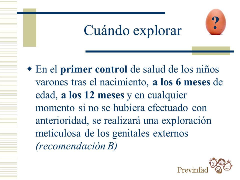En el primer control de salud de los niños varones tras el nacimiento, a los 6 meses de edad, a los 12 meses y en cualquier momento si no se hubiera e
