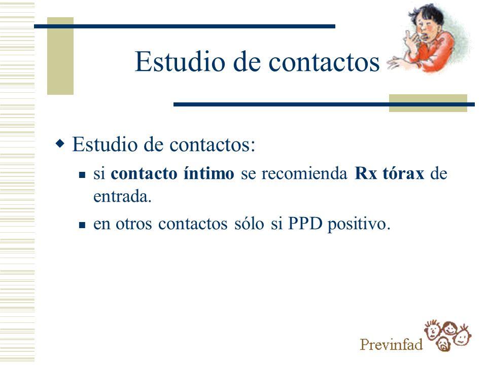 Estudio de contactos Estudio de contactos: si contacto íntimo se recomienda Rx tórax de entrada. en otros contactos sólo si PPD positivo.