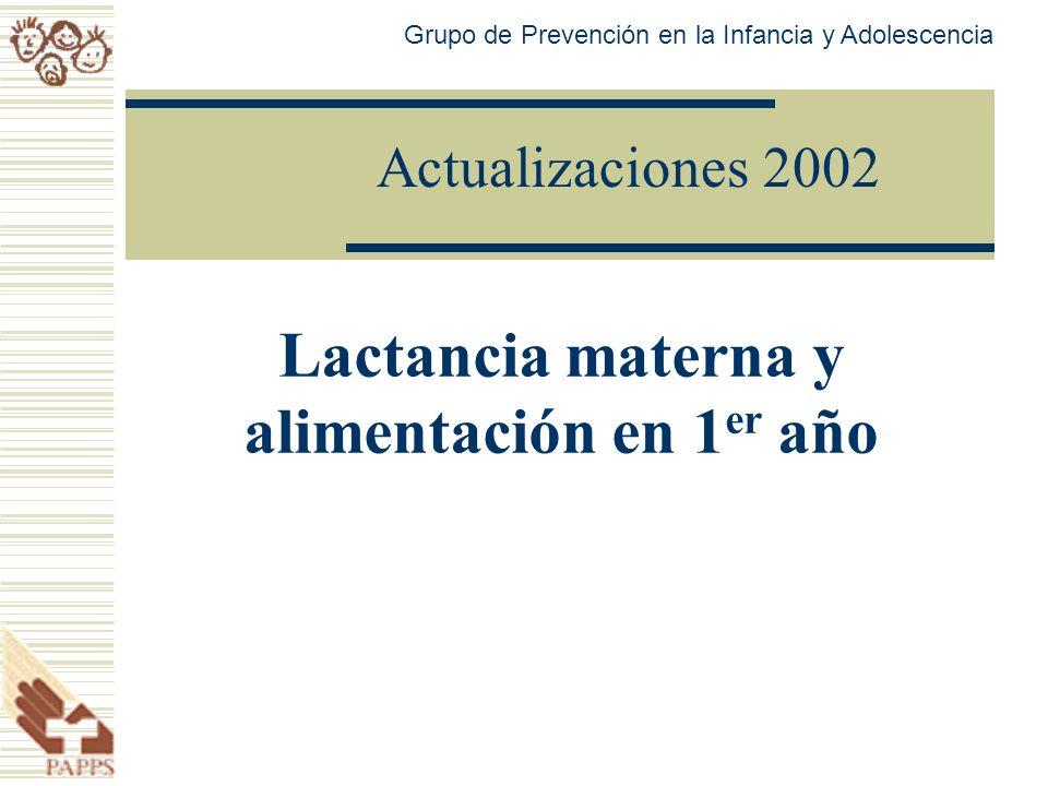 Actualizaciones 2002 Lactancia materna y alimentación en 1 er año Grupo de Prevención en la Infancia y Adolescencia