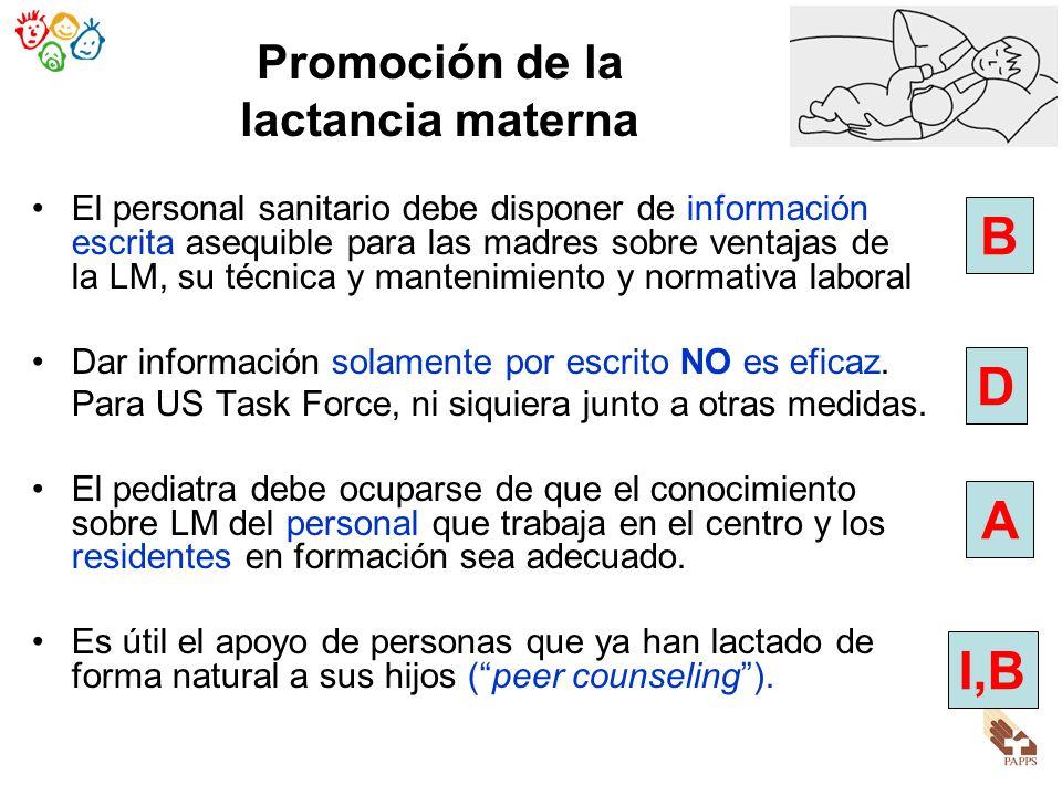 El personal sanitario debe disponer de información escrita asequible para las madres sobre ventajas de la LM, su técnica y mantenimiento y normativa l