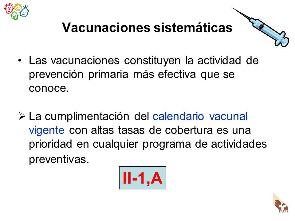Vacunaciones sistemáticas Las vacunaciones constituyen la actividad de prevención primaria más efectiva que se conoce. La cumplimentación del calendar