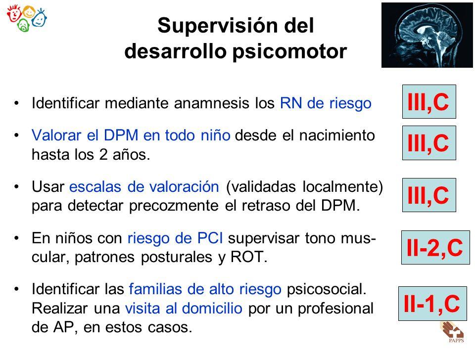 Supervisión del desarrollo psicomotor Identificar mediante anamnesis los RN de riesgo Valorar el DPM en todo niño desde el nacimiento hasta los 2 años