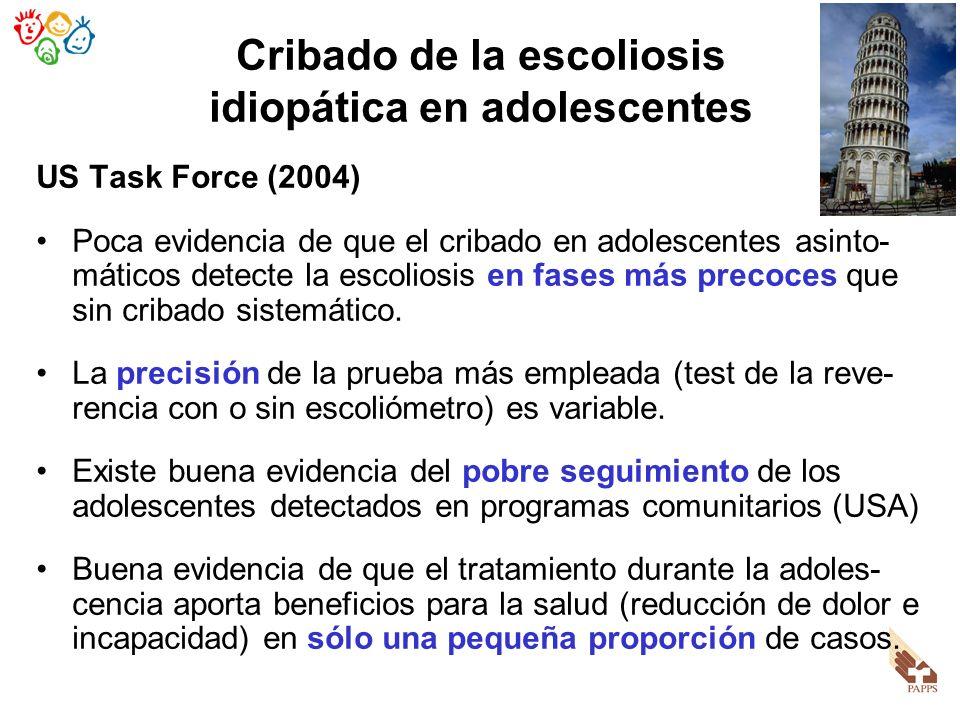 Cribado de la escoliosis idiopática en adolescentes US Task Force (2004) Poca evidencia de que el cribado en adolescentes asinto- máticos detecte la e