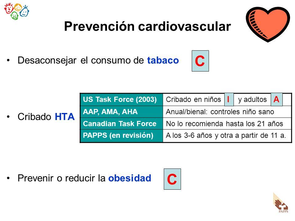 Prevención cardiovascular Desaconsejar el consumo de tabaco Cribado HTA Prevenir o reducir la obesidad US Task Force (2003)Cribado en niños y adultos