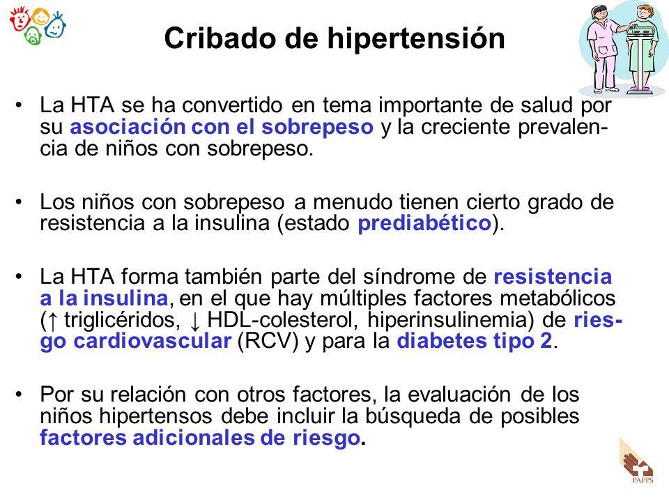 La HTA se ha convertido en tema importante de salud por su asociación con el sobrepeso y la creciente prevalen- cia de niños con sobrepeso. Los niños