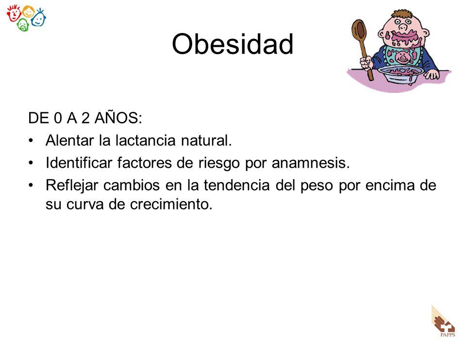 Obesidad DE 0 A 2 AÑOS: Alentar la lactancia natural. Identificar factores de riesgo por anamnesis. Reflejar cambios en la tendencia del peso por enci