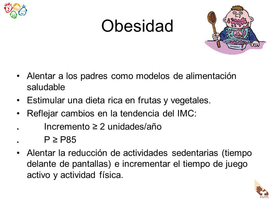 Obesidad Alentar a los padres como modelos de alimentación saludable Estimular una dieta rica en frutas y vegetales. Reflejar cambios en la tendencia
