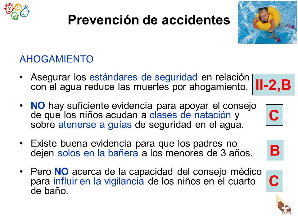 Prevención de accidentes AHOGAMIENTO Asegurar los estándares de seguridad en relación con el agua reduce las muertes por ahogamiento. NO hay suficient