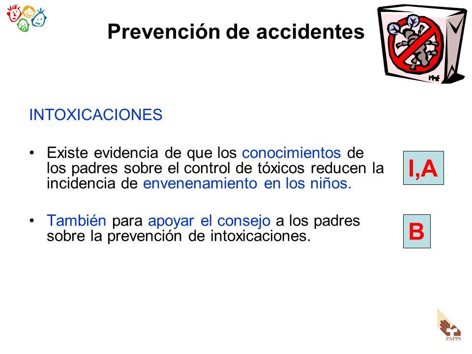 Prevención de accidentes INTOXICACIONES Existe evidencia de que los conocimientos de los padres sobre el control de tóxicos reducen la incidencia de e