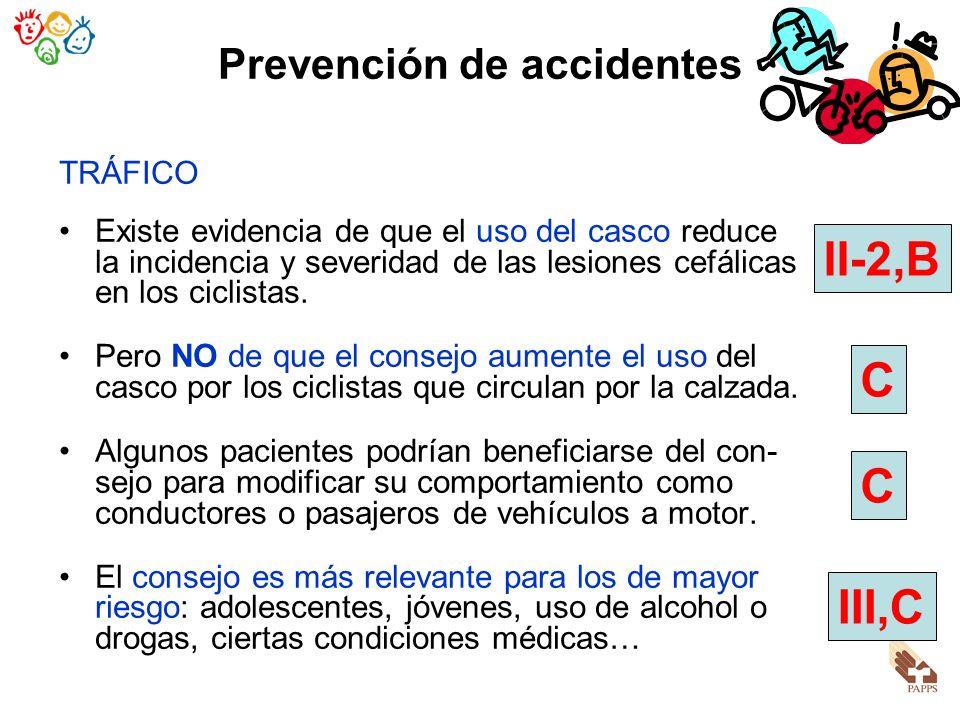 Prevención de accidentes TRÁFICO Existe evidencia de que el uso del casco reduce la incidencia y severidad de las lesiones cefálicas en los ciclistas.