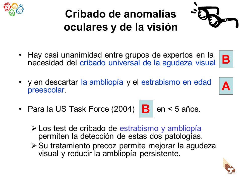 Cribado de anomalías oculares y de la visión Hay casi unanimidad entre grupos de expertos en la necesidad del cribado universal de la agudeza visual y