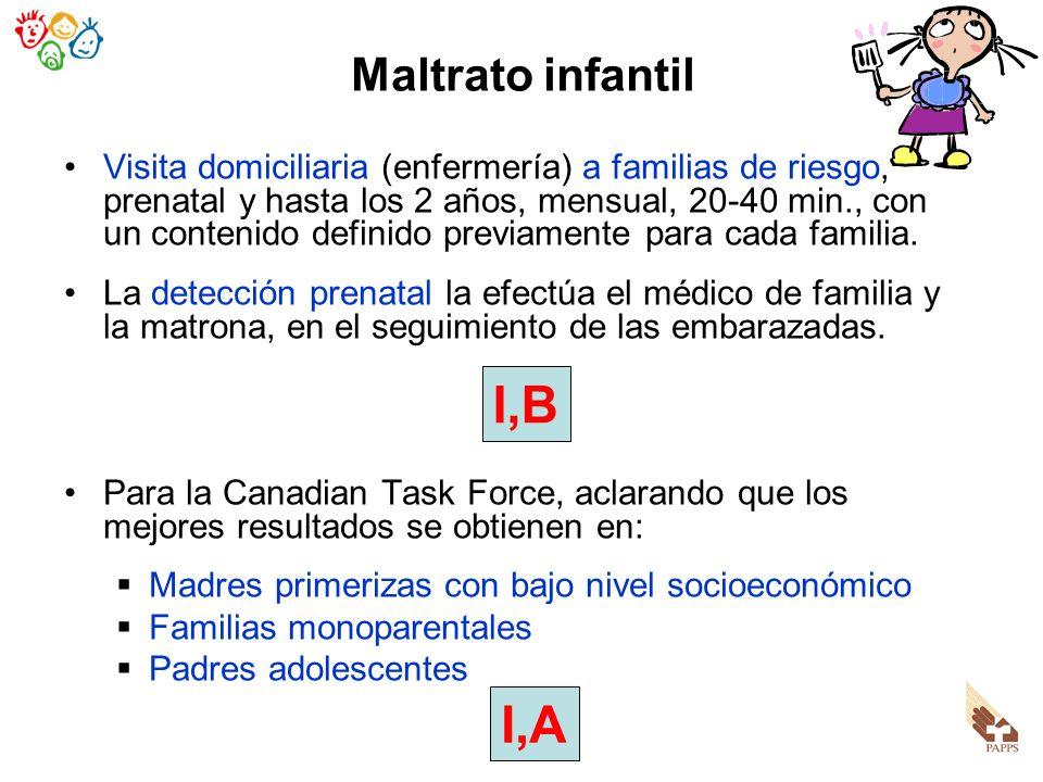 Maltrato infantil Visita domiciliaria (enfermería) a familias de riesgo, prenatal y hasta los 2 años, mensual, 20-40 min., con un contenido definido p