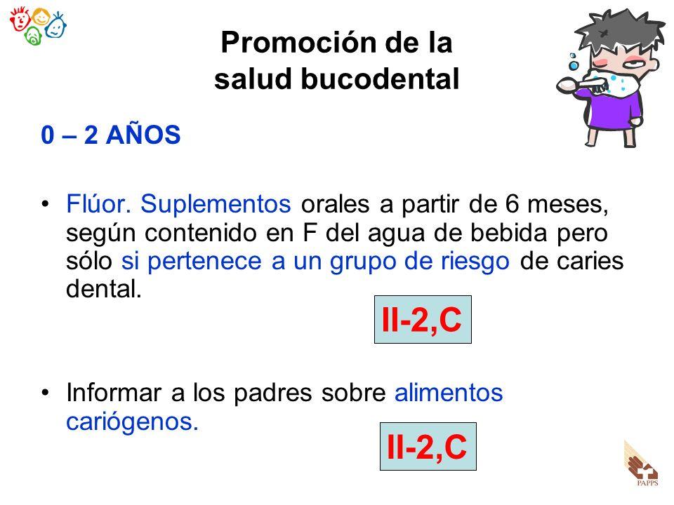 Promoción de la salud bucodental 0 – 2 AÑOS Flúor. Suplementos orales a partir de 6 meses, según contenido en F del agua de bebida pero sólo si perten