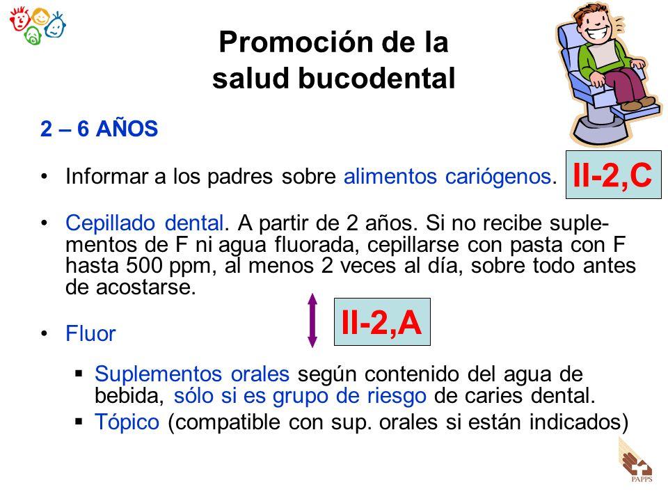 Promoción de la salud bucodental 2 – 6 AÑOS Informar a los padres sobre alimentos cariógenos. Cepillado dental. A partir de 2 años. Si no recibe suple