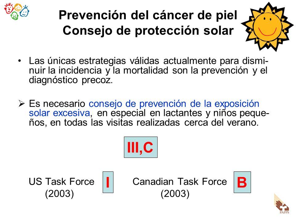 Prevención del cáncer de piel Consejo de protección solar Las únicas estrategias válidas actualmente para dismi- nuir la incidencia y la mortalidad so