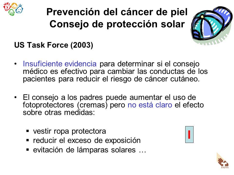 Prevención del cáncer de piel Consejo de protección solar US Task Force (2003) Insuficiente evidencia para determinar si el consejo médico es efectivo