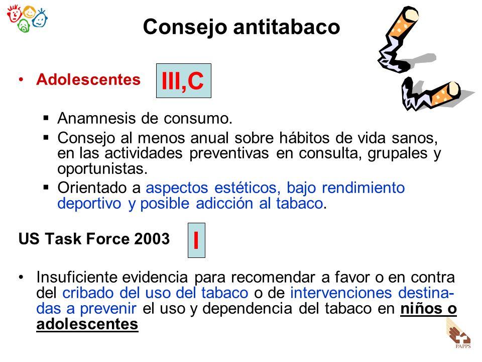 Adolescentes Anamnesis de consumo. Consejo al menos anual sobre hábitos de vida sanos, en las actividades preventivas en consulta, grupales y oportuni