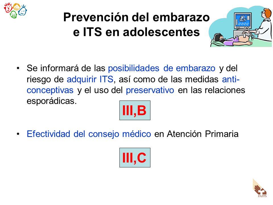 Prevención del embarazo e ITS en adolescentes Se informará de las posibilidades de embarazo y del riesgo de adquirir ITS, así como de las medidas anti