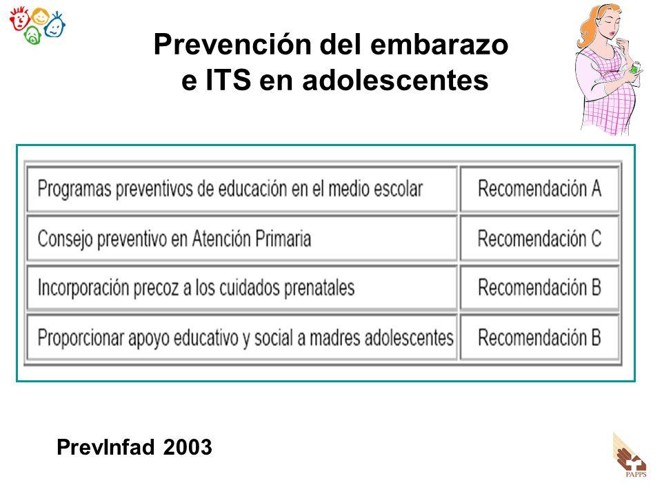 Prevención del embarazo e ITS en adolescentes PrevInfad 2003