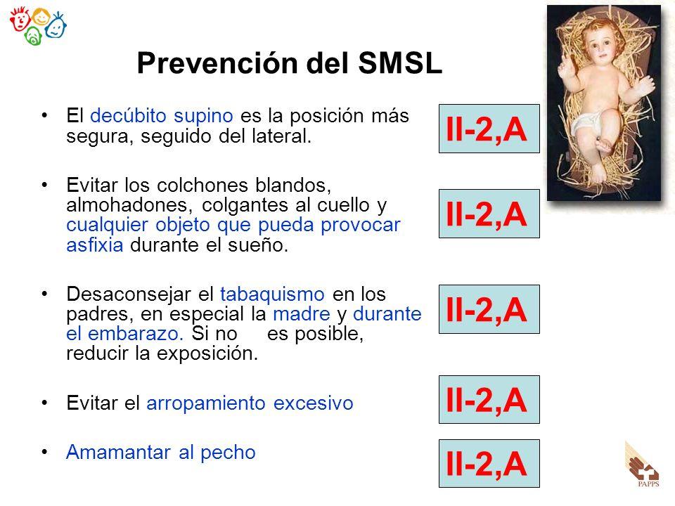Prevención del SMSL El decúbito supino es la posición más segura, seguido del lateral. Evitar los colchones blandos, almohadones, colgantes al cuello