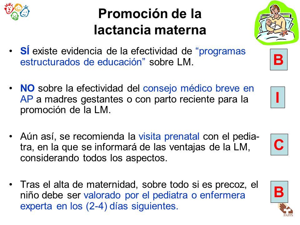 SÍ existe evidencia de la efectividad de programas estructurados de educación sobre LM. NO sobre la efectividad del consejo médico breve en AP a madre