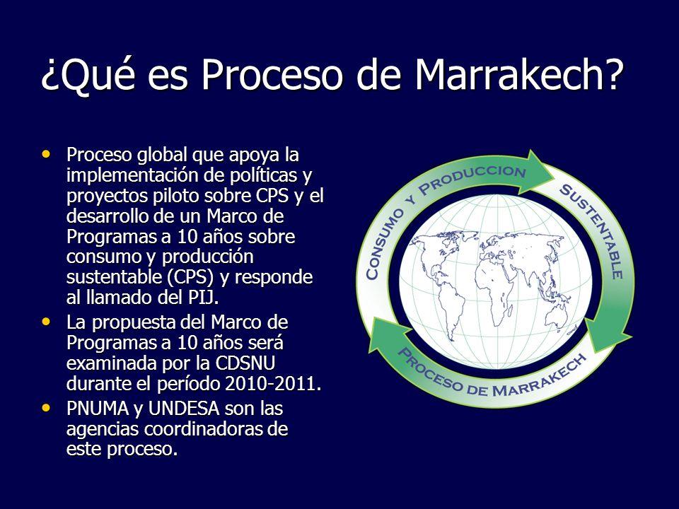 ¿Qué es Proceso de Marrakech? Proceso global que apoya la implementación de políticas y proyectos piloto sobre CPS y el desarrollo de un Marco de Prog