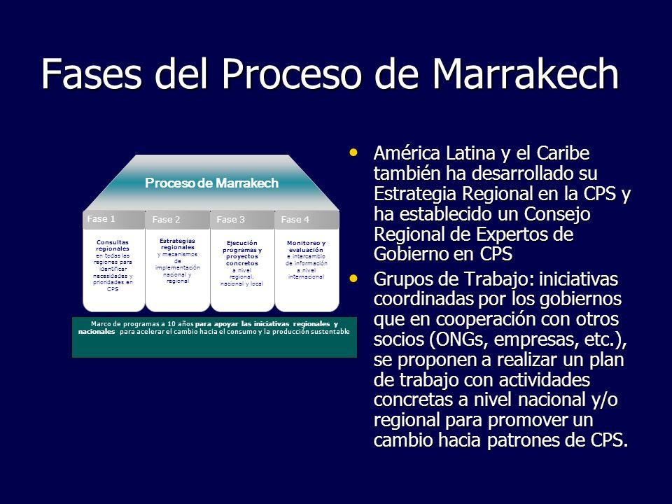 Fases del Proceso de Marrakech Proceso de Marrakech Marco de programas a 10 años para apoyar las iniciativas regionales y nacionales para acelerar el