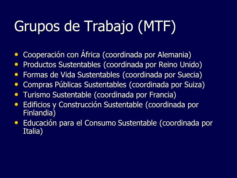 Grupos de Trabajo (MTF) Cooperación con África (coordinada por Alemania) Cooperación con África (coordinada por Alemania) Productos Sustentables (coor
