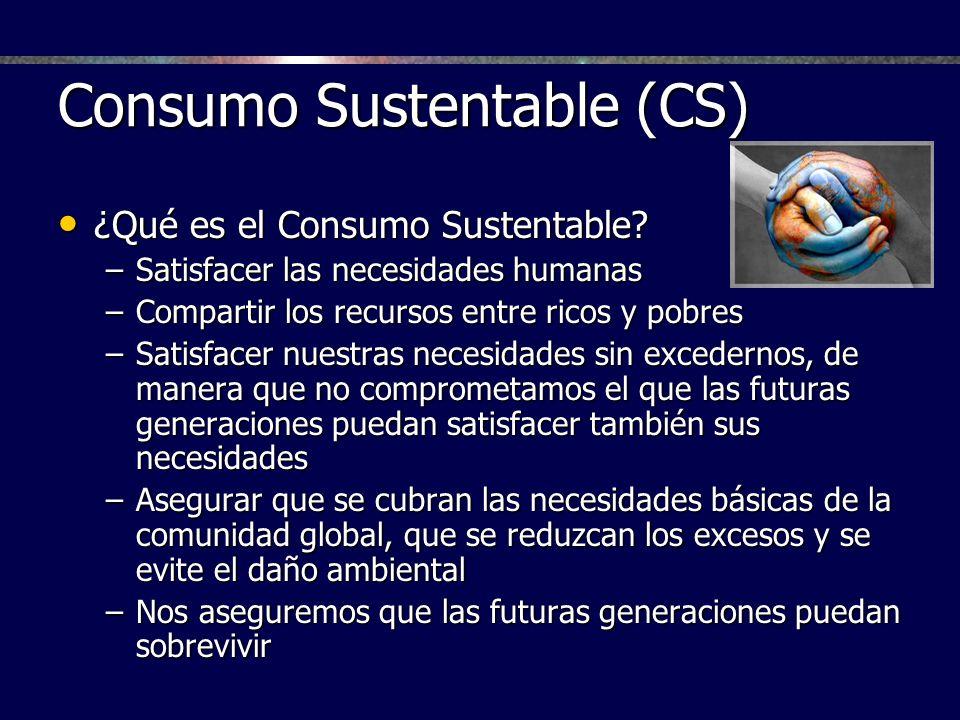 Consumo Sustentable (CS) ¿Qué es el Consumo Sustentable? ¿Qué es el Consumo Sustentable? –Satisfacer las necesidades humanas –Compartir los recursos e