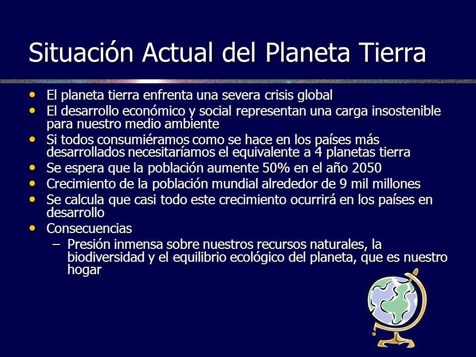 Situación Actual del Planeta Tierra El planeta tierra enfrenta una severa crisis global El planeta tierra enfrenta una severa crisis global El desarro