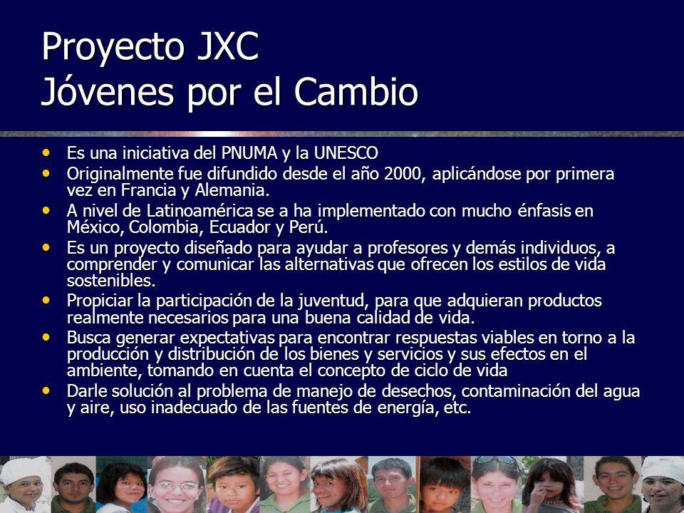 Proyecto JXC Jóvenes por el Cambio Es una iniciativa del PNUMA y la UNESCO Es una iniciativa del PNUMA y la UNESCO Originalmente fue difundido desde e