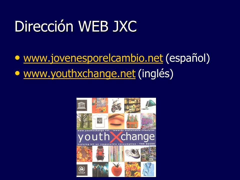 Dirección WEB JXC www.jovenesporelcambio.net (español) www.jovenesporelcambio.net www.youthxchange.net (inglés) www.youthxchange.net
