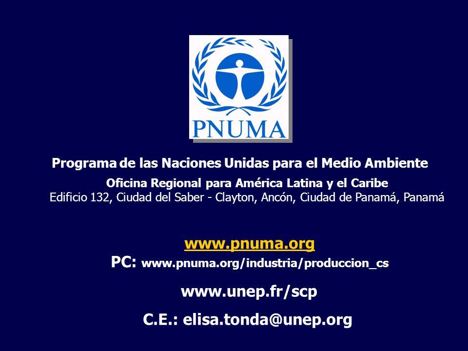 Programa de las Naciones Unidas para el Medio Ambiente Oficina Regional para América Latina y el Caribe Edificio 132, Ciudad del Saber - Clayton, Ancó