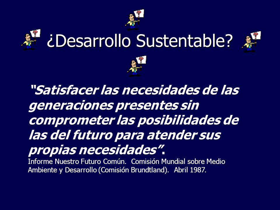 ¿Desarrollo Sustentable? Satisfacer las necesidades de las generaciones presentes sin comprometer las posibilidades de las del futuro para atender sus