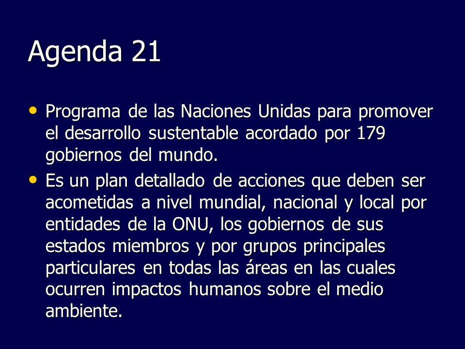 Agenda 21 Programa de las Naciones Unidas para promover el desarrollo sustentable acordado por 179 gobiernos del mundo. Programa de las Naciones Unida