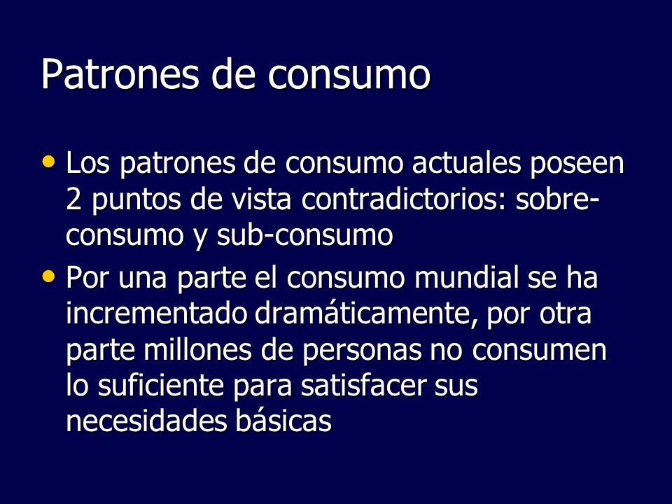 Patrones de consumo Los patrones de consumo actuales poseen 2 puntos de vista contradictorios: sobre- consumo y sub-consumo Los patrones de consumo ac