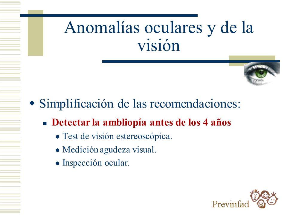 Anomalías oculares y de la visión Simplificación de las recomendaciones: Detectar la ambliopía antes de los 4 años Test de visión estereoscópica. Medi