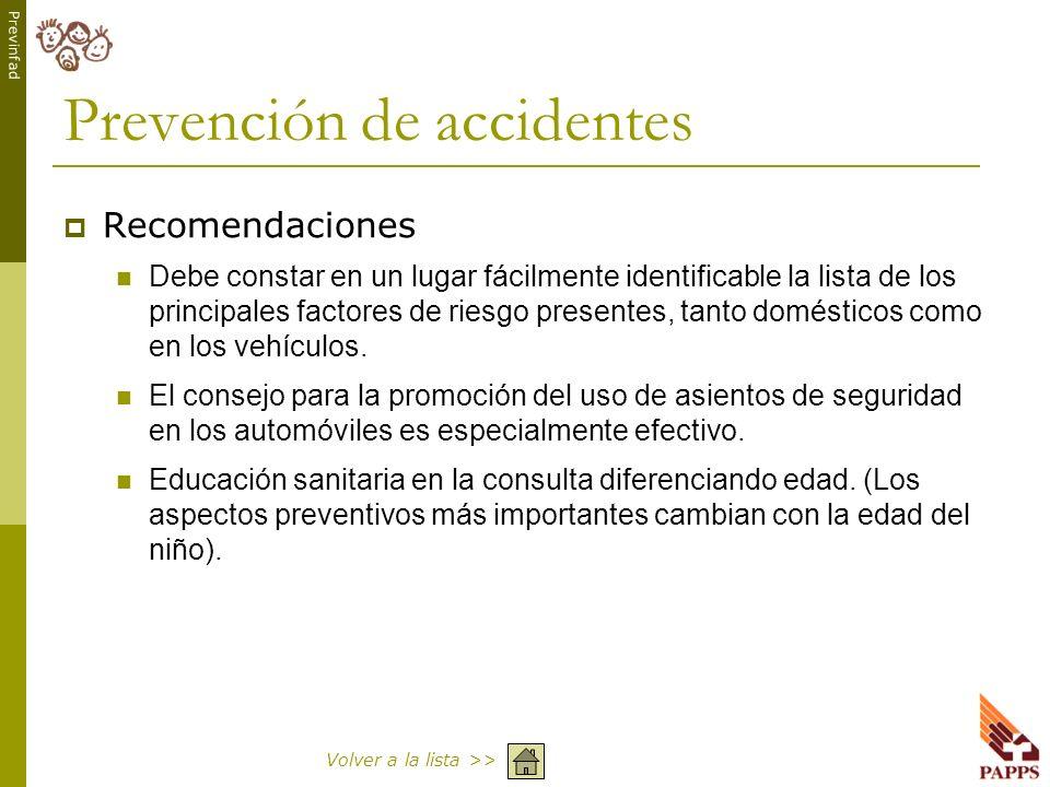 Previnfad Prevención de accidentes Recomendaciones Debe constar en un lugar fácilmente identificable la lista de los principales factores de riesgo pr
