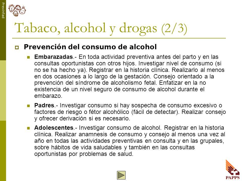 Previnfad Tabaco, alcohol y drogas (2/3) Prevención del consumo de alcohol Embarazadas.- En toda actividad preventiva antes del parto y en las consult