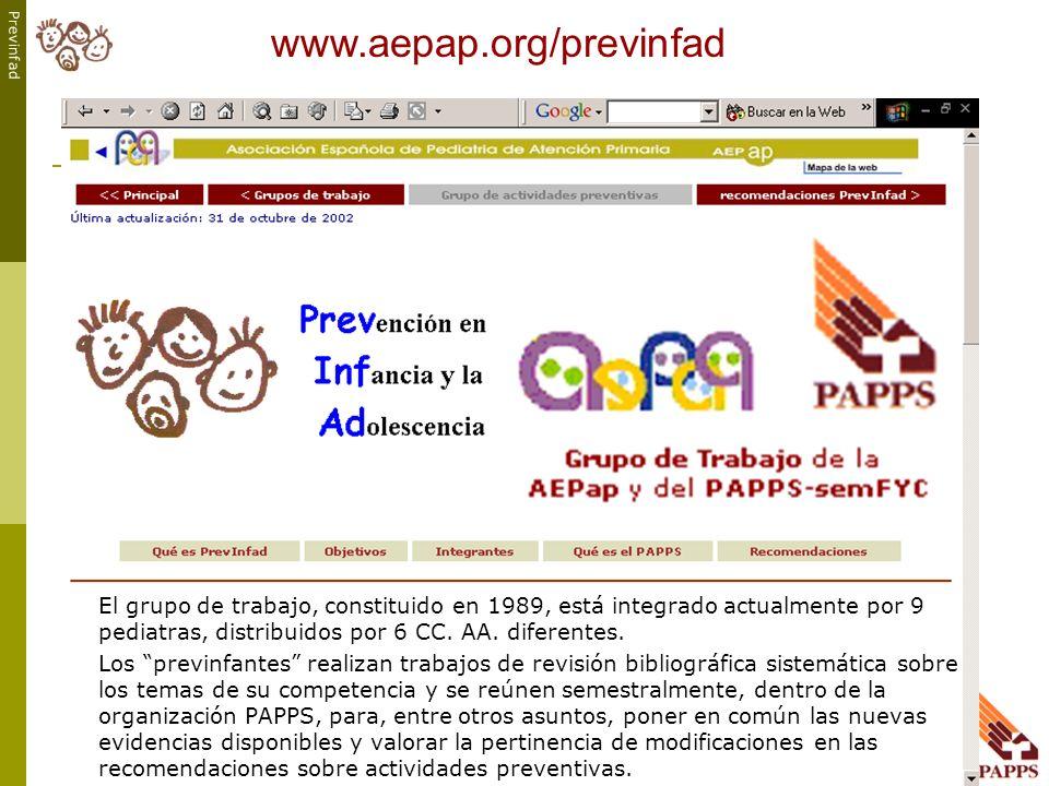 Previnfad www.aepap.org/previnfad El grupo de trabajo, constituido en 1989, está integrado actualmente por 9 pediatras, distribuidos por 6 CC. AA. dif
