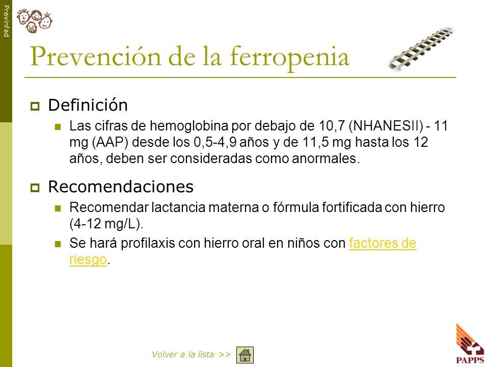 Previnfad Prevención de la ferropenia Definición Las cifras de hemoglobina por debajo de 10,7 (NHANESII) - 11 mg (AAP) desde los 0,5-4,9 años y de 11,
